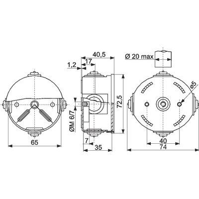 Boite de dérivation ronde GWT960ºC - Diamètre 65 mm