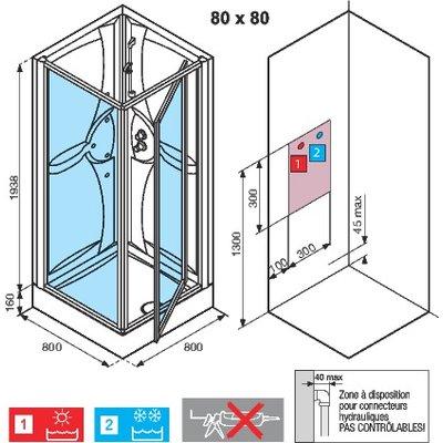 Cabine de douche Média 2.0 - Carrée accès de face - Porte pivotante