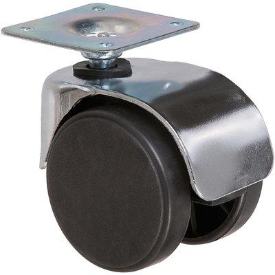 Roulette jumelée ameublement chromée à platine pivotante S49 ZP