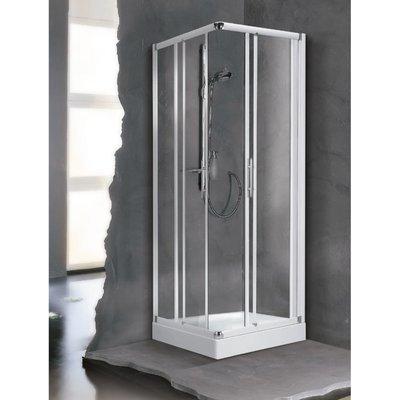 Porte de douche coulissante d'angle verre transparent - 4 ventaux - 870 à 9
