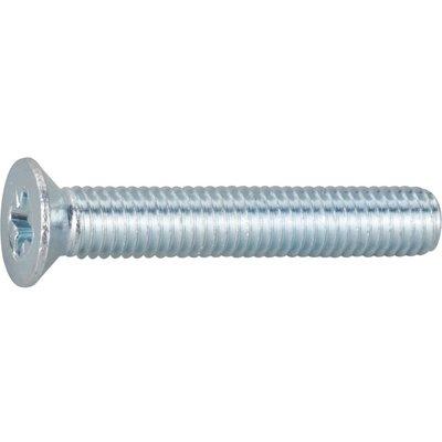 Vis métaux tête fraisé PZ3 - Ø 6 mm - 80 mm - Zingué blanc - Boîte de 200 p