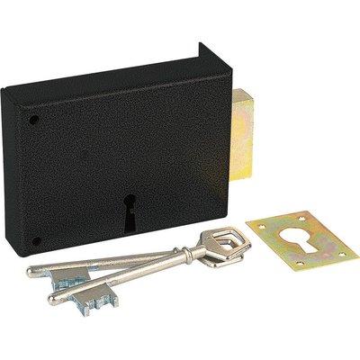 Serrure à gorge en applique noire gauche simple - Clé L - Axe à 70 mm - Sér