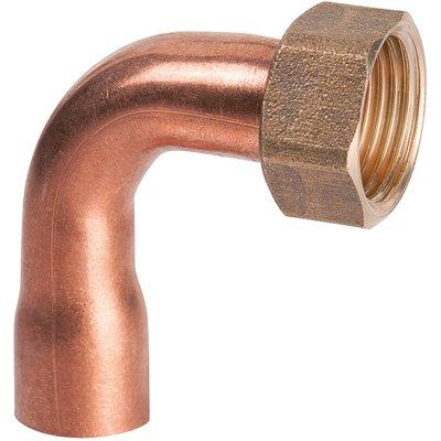 """Douille cuivre coudé avec écrou à souder - F 3/8"""" - Ø 12 mm - Hecapo"""