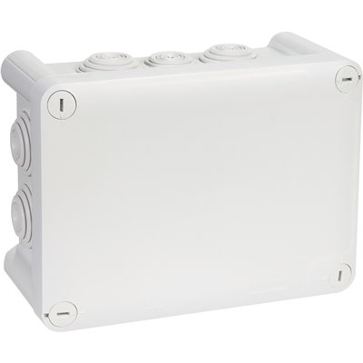Boîte grise rectangulaire - 155 x 100 mm - 10 embouts - Couvercle vis 1/4 d
