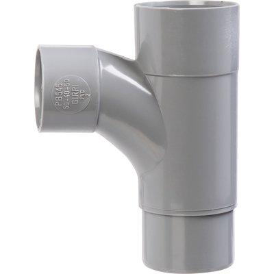 Pied de biche PVC gris réduit 87°30 - Ø 50 - 40 - 50 mm - Double emboîture