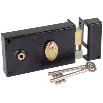 Serrure à gorge en applique noire droite à fouillot - Clé L - Axe à 52 mm -