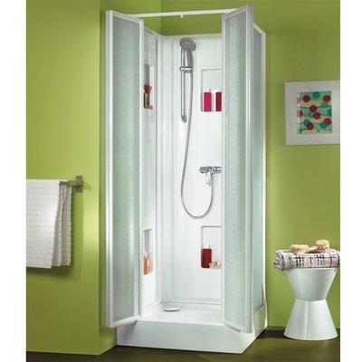 Cabine de douche carrée portes battantes granitées - 80 x 80 cm - Izi Box -