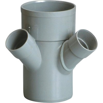 Raccord PVC gris double équerre 45° - Ø 50 - 100 - 50 mm - Triple emboîture