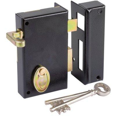 Serrure à gorge en applique noire droite à tirage - Axe à 45 mm - Série 802