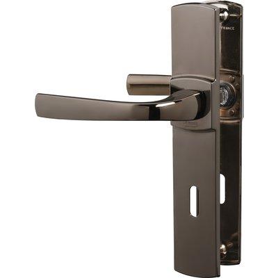 Poignée de porte sur plaque diamant noir - Clé L - 185 mm - Muze - Vachette