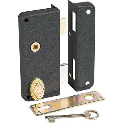 Serrure en applique noire droite à fouillot - Clé L - Axe à 40 mm - Extra-p