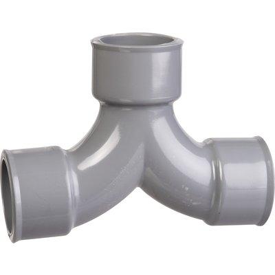 Raccord PVC gris coudé double 87°30 - Ø 32 mm - Triple emboîture - Girpi