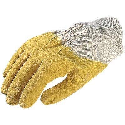 Gant de maçon latex jaune crépé - Vendu par 10 - Eurotechnique - 10