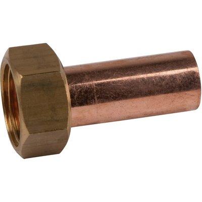 """Douille cuivre droite avec écrou à souder Hecapo - F 1/2"""" - Ø 14 mm"""
