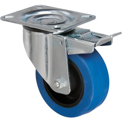 Roulette bleu à frein à platine pivotante - Ø 100 mm - Série S2NS - Caujoll