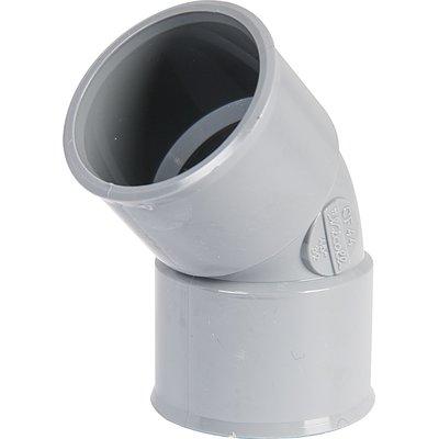 Raccord PVC gris coudé 45° - Ø 50 mm - Double emboîture - Nicoll