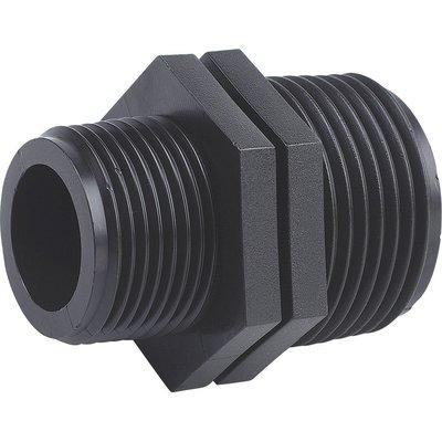 """Raccord plastique noir réduit à visser - M 3/4"""" - M 1/2"""" - Interplast"""