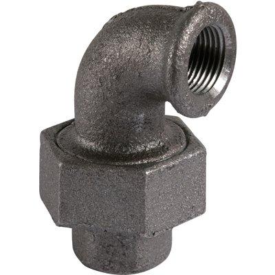 Raccord coudé union - Fonte noire - Femelle / Femelle - 96