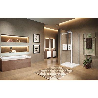 Porte de douche pivotante verre sérigraphié - 1 ventail - 840 à 900 mm - Lu