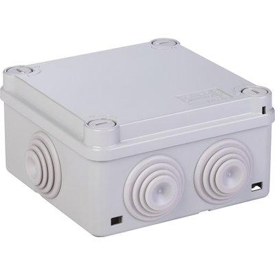 Boîte grise carrée - 100 mm - 6 embouts - Couvercle vis 1/4 de tour - Gewis