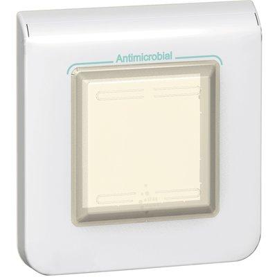 Plaque de finition pour appareillage 2 modules - Mosaic - Blanc antimicrobi