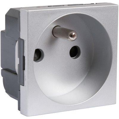 Prise finition aluminium - 2P+T - Connexion à bornes automatiques - Mosaic