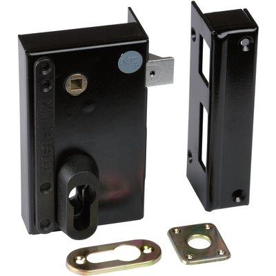 Serrure en applique noire droite à fouillot - Clé I - Axe à 45 mm - Série N