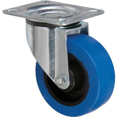 Roulette bleu à platine pivotante - Ø 100 mm - Série S2N - Caujolle