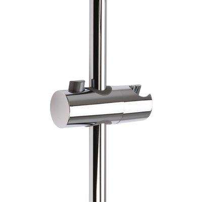 Curseur pour barre de douche chromé avec poussoir - 25 mm