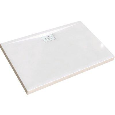 Receveur de douche rectangulaire blanc - 100 x 80 x 8,5 cm - Kinecompact -