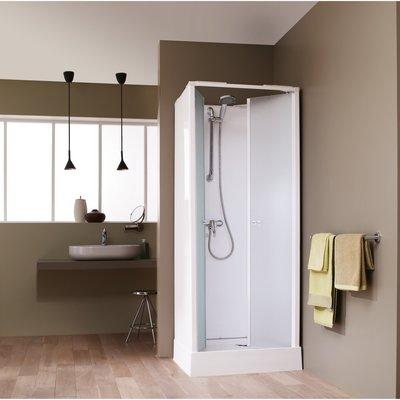 Cabine de douche carrée portes battantes granitées - 80 x 80 cm - Surf 4 -