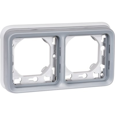Support plaque horizontal Plexo IP55 - 2 postes - Appareillage composable