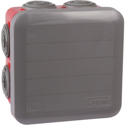 Boîte rouge/grise foncée carrée - 80 mm - 7 embouts - Couvercle enclipsable