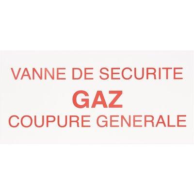 Étiquette plastique de signalisation sécurité gaz - Rectangulaire