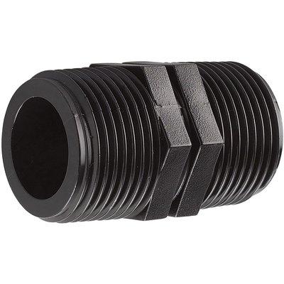 """Raccord plastique noir droit à visser - M 3/4"""" - Interplast"""