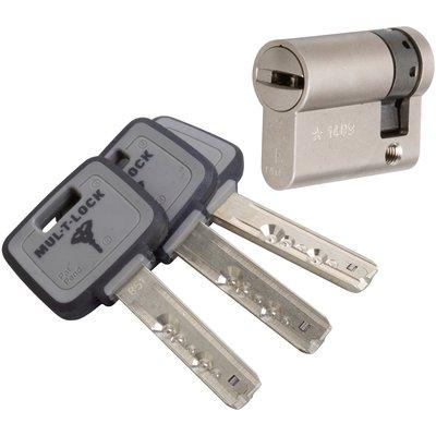 Demi cylindre varié nickelé - 60 x 10 mm - MT5 - Mul-T-lock