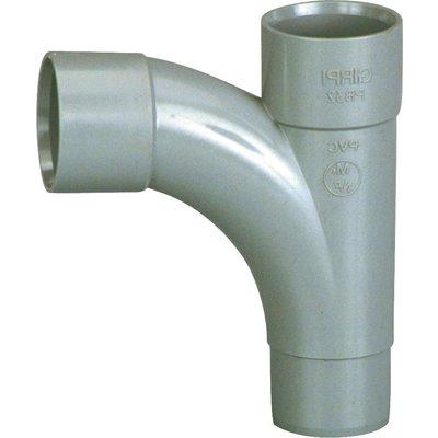 Pied de biche PVC gris 87°30 - Ø 40 mm - Double emboîture - Girpi