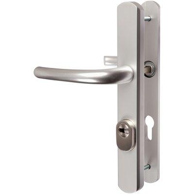 Poignée de porte sur plaque étroit argent - Clé I - Secumax - Vachette