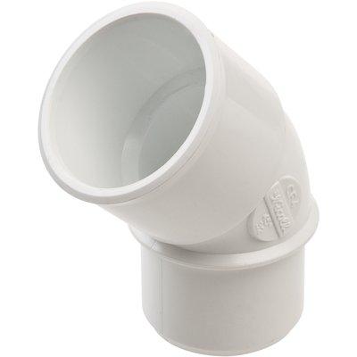 Raccord PVC blanc coudé 45° - Ø 32 mm - Simple emboîture - Nicoll
