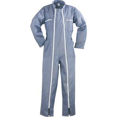 Combinaison de travail double zip - Polyester / Coton - Gris