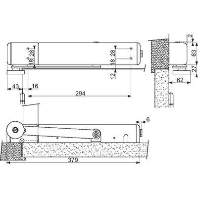 Ferme porte FL96 EVO bras droit 24 - 48 V à rupture argent
