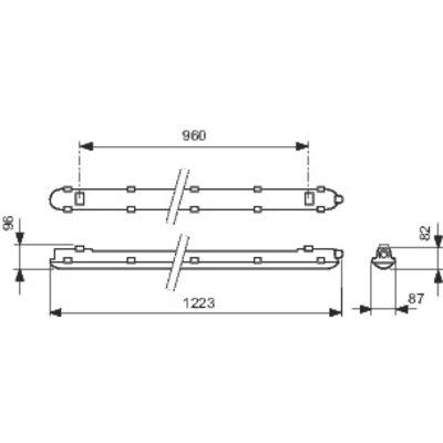 Réglette LED d'extérieure étanche - CoreLine - Gris