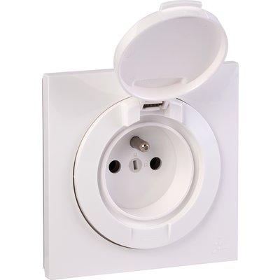 Prise de courant 2P+T à puits complète IP 44 blanc Dooxie one - Legrand