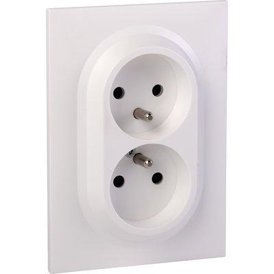Double prise de courant compacte monobloc 2P+T easyréno blanc Dooxie one -