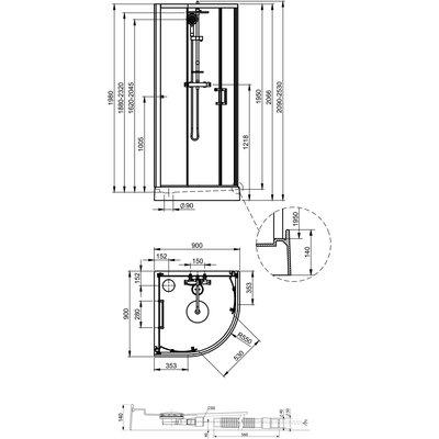 Cabine kara 1/4 de rond 90 x 90, portes coulissantes