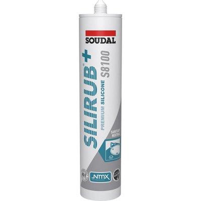 Mastic silicone Silirub+ S8100  Soudal - 300 ml - Gris