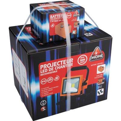 Projecteur LED de chantier rechargeable batterie amovible Dhome - 3000 lm -