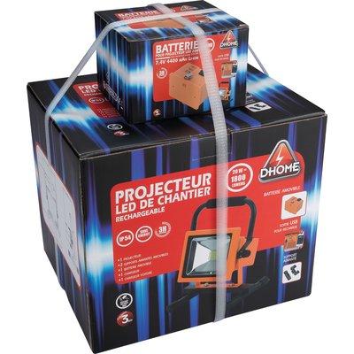 Projecteur LED de chantier rechargeable Dhome - 1800 lm - 2 batteries