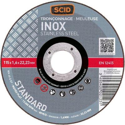 Disque à tronçonner moyeu plat inox standard - Diamétre 125 mm