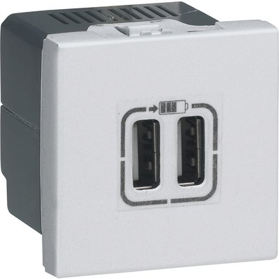 Double chargeur USB Type-A 2 modules - Mosaic - Aluminium